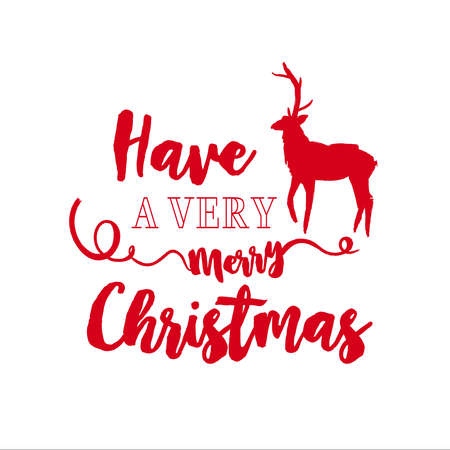 Merry Christmas deer calligraphy quote, lettering text design for holiday season. Creative red typography font illustration. EPS10 vector.