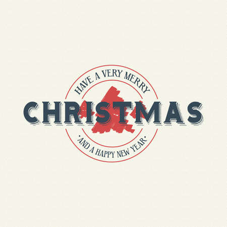 Merry Christmas calligraphic quote design, vintage emblem lettering for holiday season greeting card. EPS10 vector. Illustration
