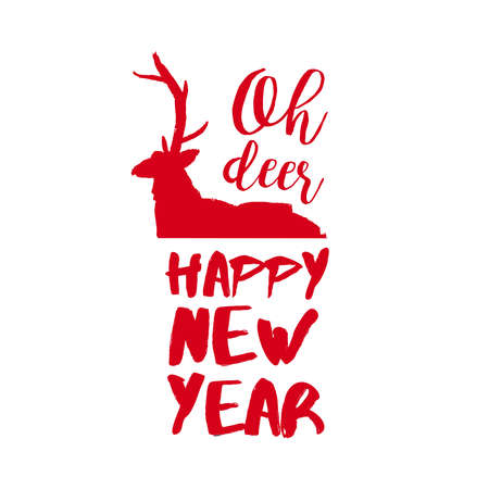 New Year reindeer calligraphy quote, lettering text design for holiday season. Creative red typography font illustration. EPS10 vector.