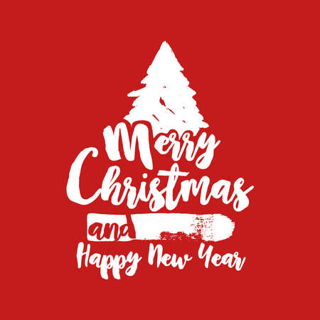 grunge tree: Merry Christmas grunge tree text quote, calligraphy lettering design for holiday season. Creative red typography font illustration. EPS10 vector. Illustration