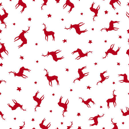 happy holidays: Merry Christmas ornaments seamless pattern, hand drawn deer and star decoration in red color. EPS10 vector.