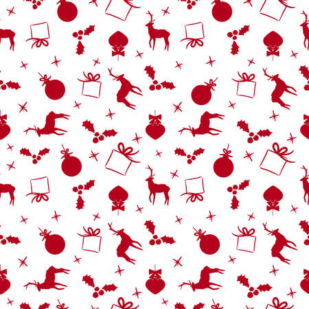 decoration: Merry Christmas seamless pattern of hand drawn seasonal decoration in red color. Includes reindeer, gift, ornament bauble and holly. EPS10 vector. Illustration