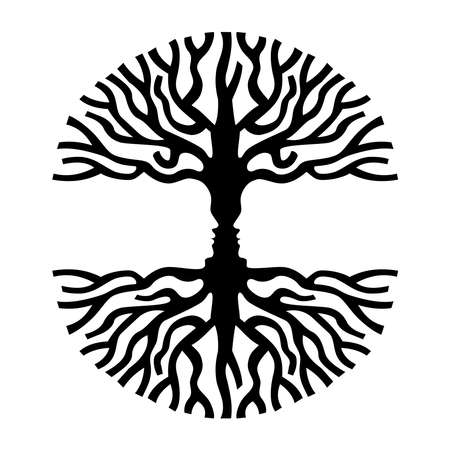 Tree branches shape with opposite human faces silhouette. Concept optic art symbol for psychology, environment, therapy, social development or human sciences. EPS10 vector.