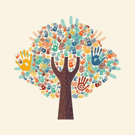Geïsoleerde boom gemaakt van kleurrijke handdruk kunst. Diverse gemeenschapsconcept voor sociale hulp, teamwork of liefdadigheid. EPS10 vector.
