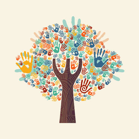 Isolated tree made of colorful hand print art. Diverse community concept for social help, teamwork or charity. EPS10 vector.