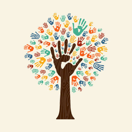 Menselijke handprintboom met handen van kleurrijke etnische groep. Gemeenschap hulp concept illustratie. EPS10 vector. Stock Illustratie