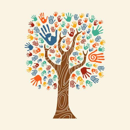 Árvore conceitual feita de arte de impressão de mão colorida. Conceito de comunidade diversa para ajuda social, trabalho em equipe ou caridade. Vector EPS10.