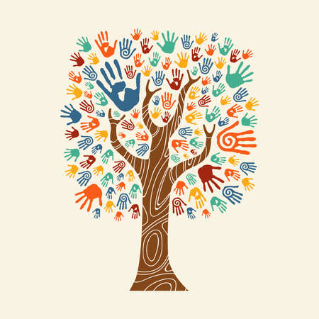 Concept tree made of colorful hand print art. Diverse community concept for social help, teamwork or charity. EPS10 vector. Stock Illustratie