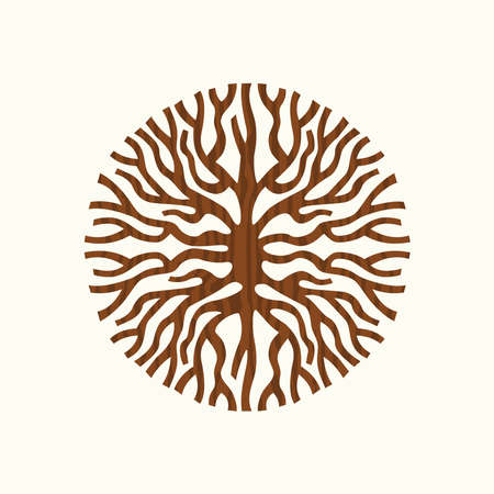 Abstract circle shape of tree roots or branches illustration, creative nature art concept symbol. EPS10 vector.