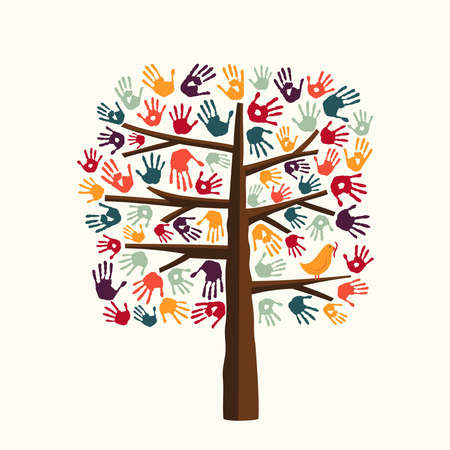 tree isolated: Tree made of diverse color hand prints with bird. Community help concept illustration. EPS10 vector.