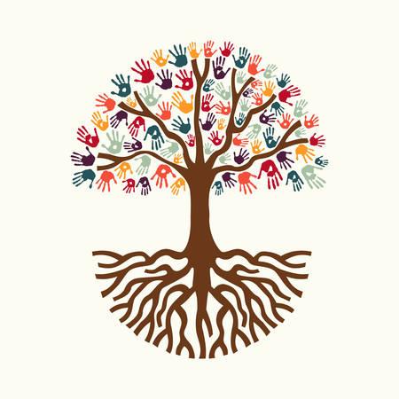 Drzewo rę ce kolorowe zróżnicowanej wspólnoty z dużymi korzeniami. Izolowane koncepcji ilustracji dla koncepcji pomocy społecznej, działalności charytatywnej lub grupy. Wektor EPS10.