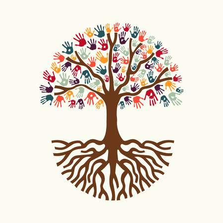 help: Tree hands of colorful diverse community with big roots. Isolated concept illustration for social help concept, charity or group work. EPS10 vector.