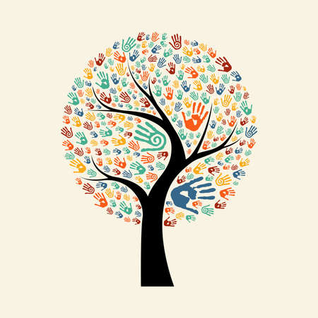 Tree hands of colorful diverse community. Isolated concept illustration for social help concept, charity or group work. EPS10 vector.