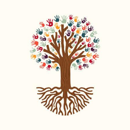 Árbol hecho de diversas impresiones de color a mano con grandes raíces. Ilustración de concepto de ayuda comunitaria. Vector EPS10. Ilustración de vector