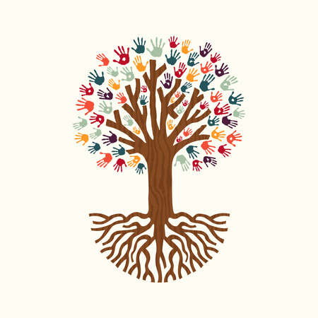 Tree made of diverse color hand prints with big roots. Community help concept illustration. EPS10 vector.