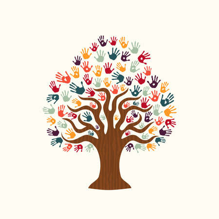 Tree hands of colorful diverse community. Isolated illustration for social help concept, charity or group work. EPS10 vector. Illustration
