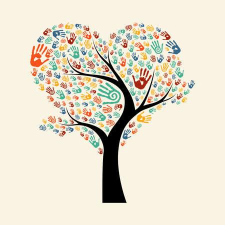 Árvore feita de impressões de mão de cores diversas em forma de coração. Ilustração do conceito de ajuda comunitária. Vector EPS10.