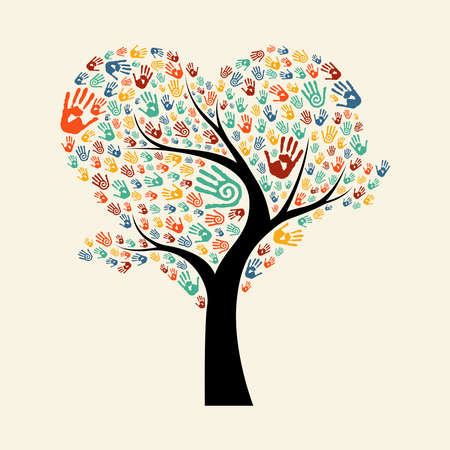 Tree made of diverse color hand prints in heart shape. Community help concept illustration. EPS10 vector.