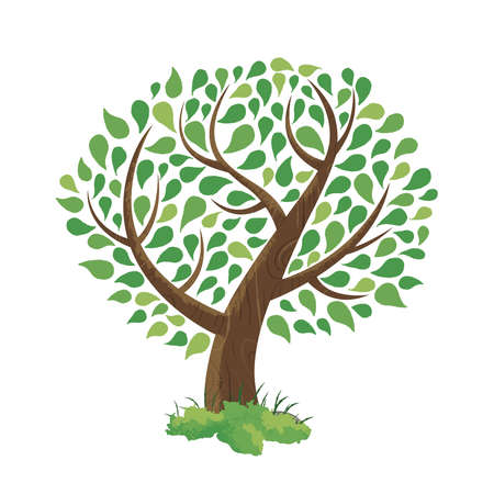 Hand drawn tree made of colorful green leaf foliage art. Environment concept for nature care. EPS10 vector.