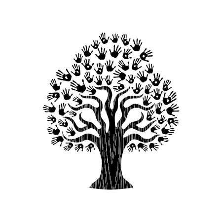 obra social: Árbol de manos de la comunidad diversa. Ilustración aislada en blanco y negro para el concepto de ayuda social, la caridad o el trabajo en grupo. EPS10 vector.