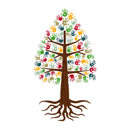Pine tree hands of colorful diverse community. Isolated concept illustration for social help, charity or group work. EPS10 vector.