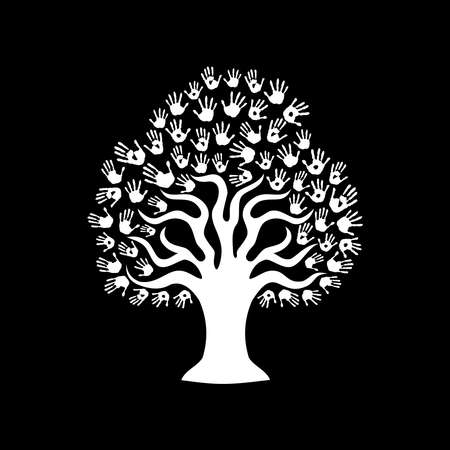 Tree hands of diverse community. Isolated black and white illustration for social help concept, charity or group work. EPS10 vector.
