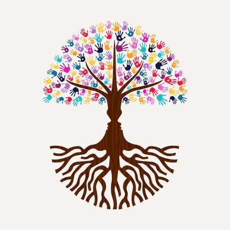 Tree made of colorful hand print art with human faces silhouette. Diverse community concept for social help, environment or charity. EPS10 vector. Illustration