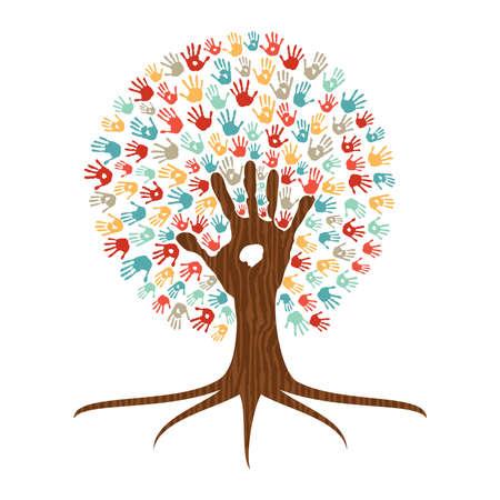 Menselijke handdruk veelkleurige boom met handen van kleurrijke etnische groep. Globale diverse community help of eenheid teamwork concept illustratie. EPS10 vector.