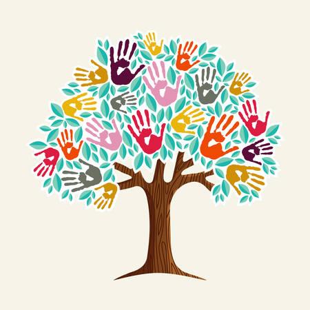 Una mano amiga: un árbol hecho de diversas formas de huellas. Ilustración de concepto de ayuda comunitaria. Vector EPS10.