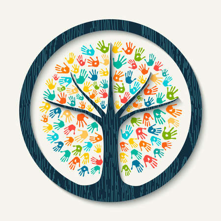 Geïsoleerde boomsymbool gemaakt van kleurrijke hand print art. Divers gemeenschapsconcept voor sociale hulp, teamwork of liefdadigheid. EPS10 vector.