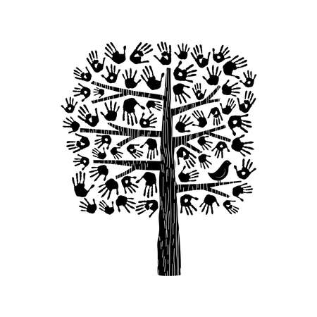 hand print: A helping hand, tree made of diverse handprints with bird. Community help concept illustration. EPS10 vector.