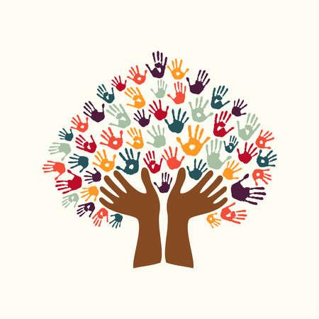 Menschliche Handabdruck Baum Symbol mit Händen der bunten ethnischen Gruppe. Diverse Kulturkonzept Illustration für Organisation Hilfe, Umwelt oder soziale Arbeit. EPS10-Vektor.