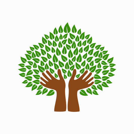 tree isolated: Tree symbol with human hands and green leaves. Concept illustration for organization help, environment project or social work. EPS10 vector. Illustration
