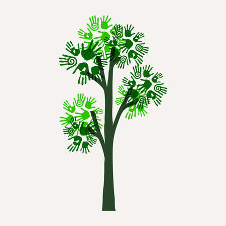 Green tree symbol with hand print art. Concept illustration for environment care, nature help or charity. EPS10 vector.