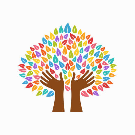 communication concept: Tree symbol with human hands and multicolor leaves. Concept illustration for organization help, environment project or social work. EPS10 vector.