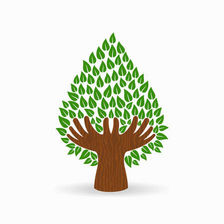 Green tree symbol with human hands. Concept illustration for organization help, environment project or social work. EPS10 vector.