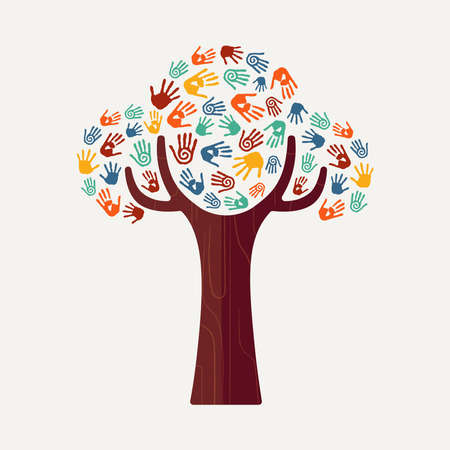 help: Hand tree with colorful handprint art. Diverse community concept illustration for social help, environment project or charity. EPS10 vector.