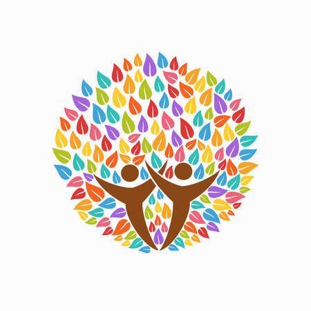 Multicolor tree symbol with people silhouettes. Concept illustration for organization help, environment project or social work. EPS10 vector.