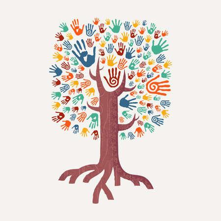 Árbol de la mano de dibujo con arte colorido de la mano. Ilustración diversa del concepto de la comunidad unida para la ayuda social, el proyecto del ambiente o la caridad. Vector EPS10.