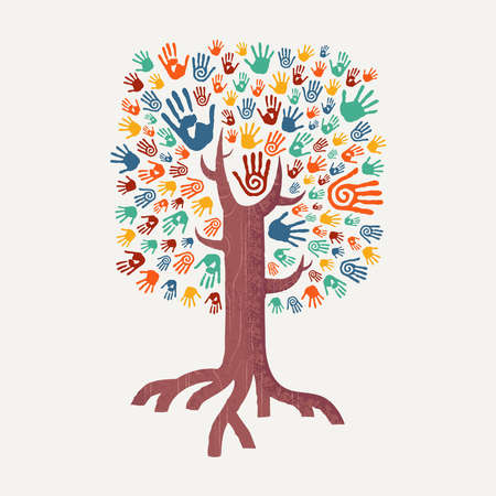 Hand tree drawing with colorful handprint art. Diverse united community concept illustration for social help, environment project or charity. EPS10 vector.