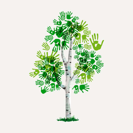 Green tree with human hand print art. Concept illustration for environment help, nature care or charity. EPS10 vector. Illustration
