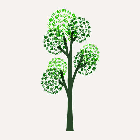 Green tree with human hand print art. Eco friendly concept illustration for environment help, nature care or charity project. EPS10 vector.