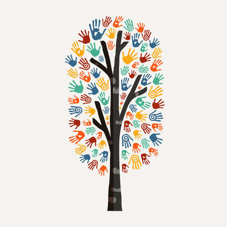 project: Hand tree with colorful handprint art. Diverse community concept illustration for social help, environment project or charity. EPS10 vector.