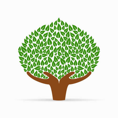 tree isolated: Green tree symbol with human hands. Concept illustration for organization help, environment project or social work. EPS10 vector.