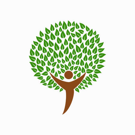 children silhouettes: Green tree symbol with human silhouette. Concept illustration for nature care or environment project. EPS10 vector.