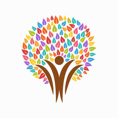 Colorful tree symbol with people silhouettes. Concept illustration for organization help, environment project or social work. EPS10 vector.