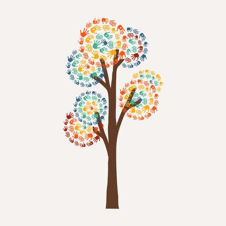 Símbolo del árbol de la mano con arte handprint multicolor. Ilustración de concepto de comunidad diversa para ayuda social, proyecto medioambiental o caridad. EPS10 vector. Foto de archivo - 79420337