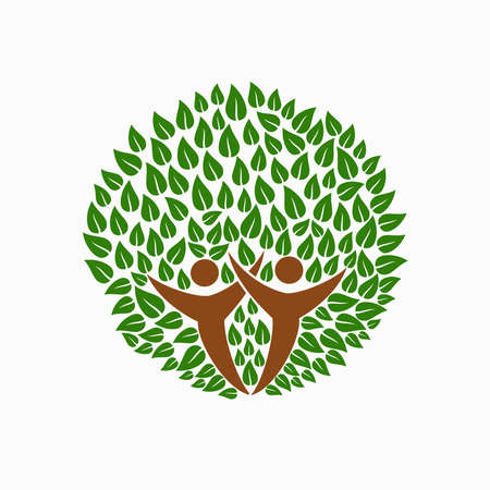charity and relief work: Green tree symbol with people silhouettes. Concept illustration for community environment help. EPS10 vector.
