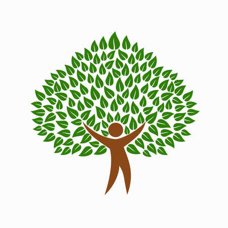 Green tree symbol with human silhouette. Concept illustration for environment help project or nature care. EPS10 vector.