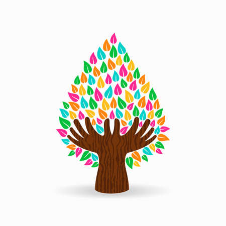 Tree symbol with human hands and colorful leaves. Concept illustration for organization help, environment project or social work. EPS10 vector. Illustration